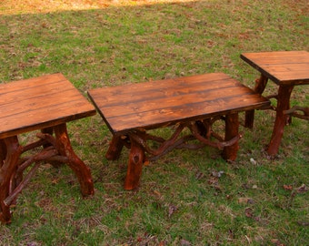 Rustic Handmade Coffee table and End Table set Log Cabin Adirondack Furniture by J. Wade, brown pine