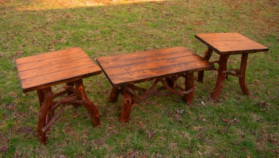 rustic handmade coffee table and end table set log cabin. Black Bedroom Furniture Sets. Home Design Ideas