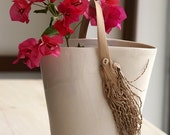 White Ceramic Stoneware  Vessel with Date Palm Branch Handle - SimoneCeramics