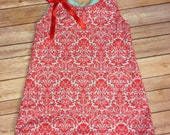 Infant girls/ toddler girls pinafore dress- aqua/ teal/ coral/ red damask print/ floral print- sizes NB- 5 available