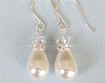 White, Ivory Pearl Earrings, Teardrop Pearl and Crystal Earrings, Pearl Drop Earrings, Bridesmaids Earrings Flower girl Mother of The Bride