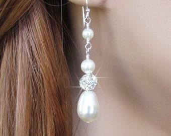 Bridal Pearl and Rhinestone Earrings, Wedding Jewelry, Teardrop Pearl Earrings, in White or Ivory Pearls, Sterling, Bride, Wedding Earrings
