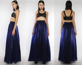 Vtg 80s Purple Iridescent Flowy Supermodel Length Maxi Skirt Gown S M