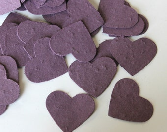 100 Purple Heart Shaped Plantable Paper Seed Wedding Favors and Confetti -- Choose Your Colors for Eco-Friendly Confetti