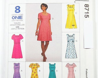 Pick A Size - McCalls Dress Pattern 8715 - Misses' One-Piece Dress in Two Lengths and Belt - McCall's Patterns