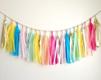 COLOR CONFETTI BURST - Tissue Paper Tassel Garland, Tissue Paper Tassels, Wedding, Tassel Garland, Party Banner, Tassels, Rainbow Tassels