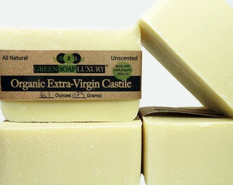 Organic Extra-Virigin Olive Oil Castile - (5.4 to 6.0 oz) - Unscented, Gentle, All NATURAL, VEGAN, Cold Process SOAP