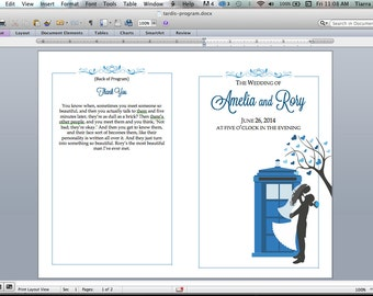 Doctor Who TARDIS Print-it-Yourself Wedding Program