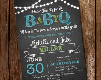 Chalkboard BaBy-Q Baby Shower for a Boy - Invitation - Instantly Downloadable and Editable File - Personalize at home with Adobe Reader