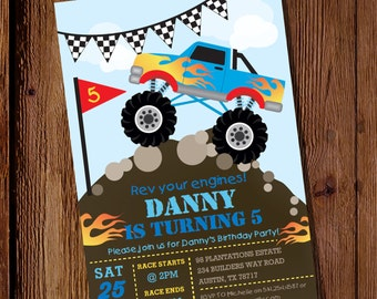 Monster Truck Invitation - Monster Truck Birthday Invitation - Truck Birthday Party Invitation - Instant Download - Editable File
