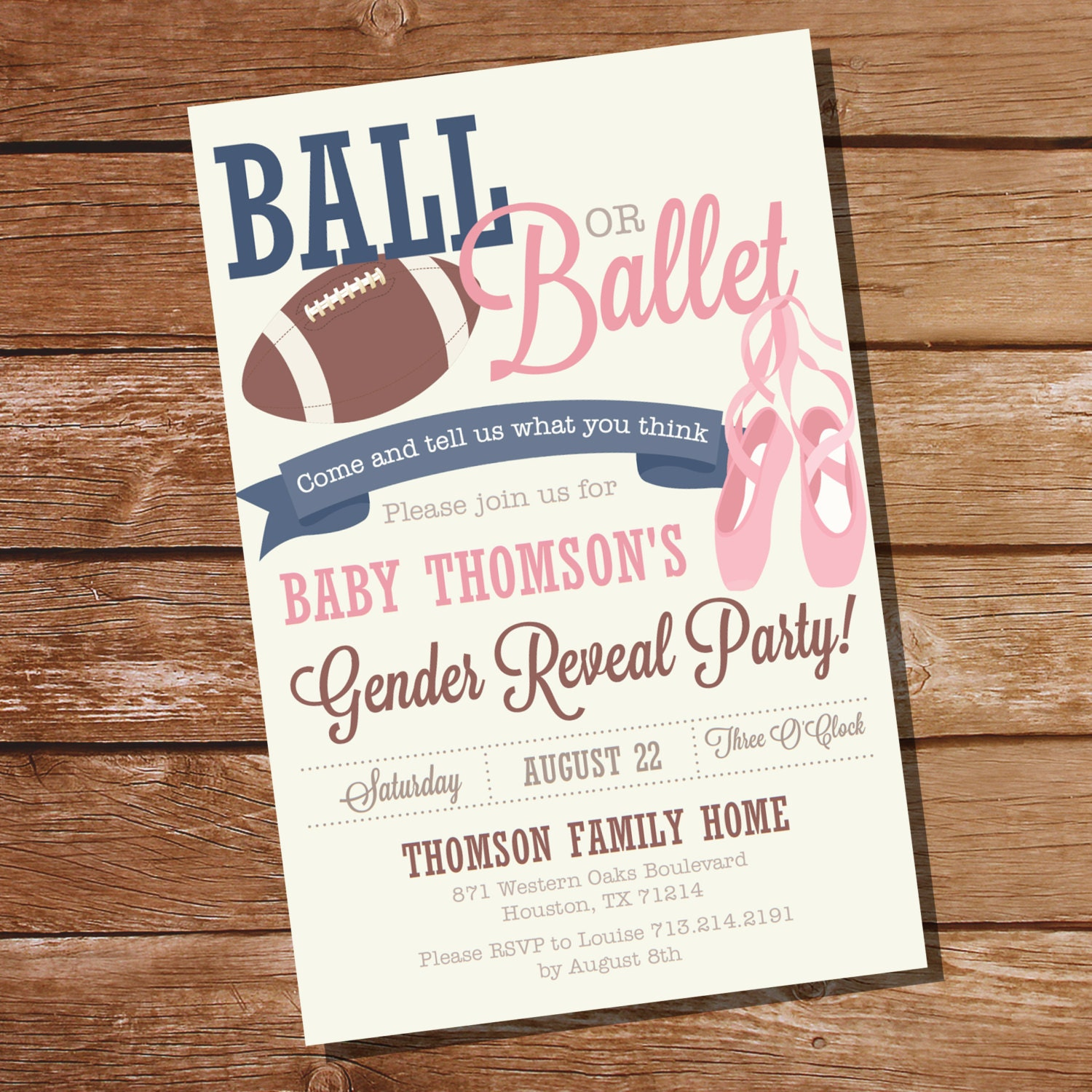 Ball or Ballet Gender Reveal Party Invitation Football or