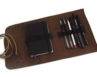 Leather A6 Notebook Cover, Pencil Case,  Moleskine Pocket Cover, Travel Case, Brown or Black Full Grain Italian Leather, Hand Stitched.