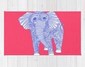 Pink Elephant Rug, Pink Rug, Elephant Bath Mat, Pink Bath Mat, Elephant Throw Rug, Pink Throw Rug, Pink Floor Mat, Elephant Carpet