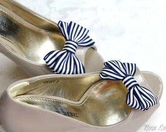 Navy Stripe Shoe Clips, Navy & White Striped Bow Shoe Clip, Nautical Clip Shoes, Nautical Wedding Accessories