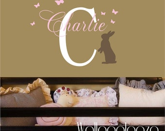 Bunny wall decal - name with bunny wall decal - girls name wall decal - custom name decal