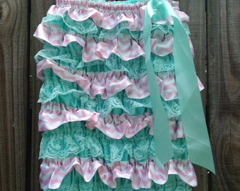 Aqua and PInk Chevron Satin Romper