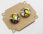 Fabric Button Earrings - Yellow Black Grey White Button Earrings - Hypoallergenic - Stud Earrings