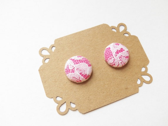 Button Earrings Studs - Hot Pink and Lace -  Valentine's Day Stud Earrings - Hypoallergenic Earrings