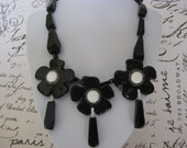 Glamorous Black Flowers Statement Necklace, with Blackstone Beads, Black Agate Gemstones, and Polymer Clay