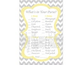 Yellow and Grey Chevron Baby Shower Game, What's in Your Purse Printable Game, Yellow and Grey Theme Printable Game, Chevron Baby Shower