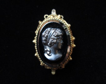Vintage Hematite Cameo Double End Clasp with Pin Back