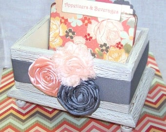 RECIPE BOX with Dividers, Floral Recipe Dividers, Ivory Recipe Box, Shabby Chic Recipe Box, Peach and Coral, Gray and Mint, Chevron