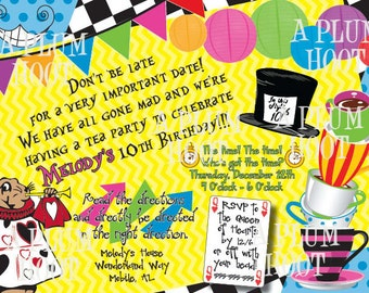 Alice in Wonderland/Mad Hatter Tea Party Birthday Party Invitation (Personalized, DIY, 5X7 Printable)