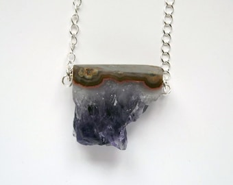 SALE: rough sliced amethyst geode necklace