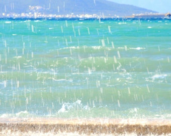 bue ocean picture- Water Splash- tiffany blue waters of the mediterranean sea- Storm at the Beach