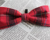 Red Plaid Dog Bow-tie
