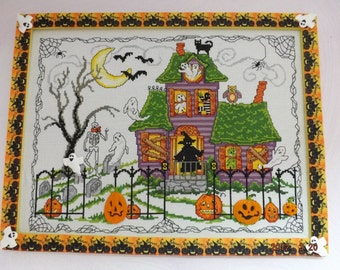 Halloween House - handmade in counted point embroidery