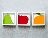 Three fruits art prints square, red, green, orange, set of three kitchen posters, three prints together