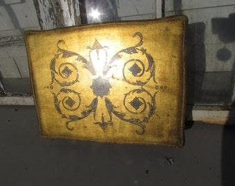 Large Antique Vintage Florentine Florentia Italy Italian Gold Gilt Wooden Box