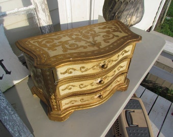 Vintage Florentine Large Jewelry Box Carved Wooden Florentia