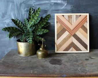 Navajo Tribal Geometric Wood Patterned Wall Panel Art, Reclaimed Barnwood, Pine, Chesnut, Oak,  Arrow Chevron - - Scutum Pattern