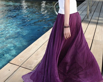 Bridesmaids skirts, Long Maxi Skirt, Purple Skirt, Chiffon Skirt,  Purple Chiffon Dress Beach Skirt Bohemian Skirt Many Colors available