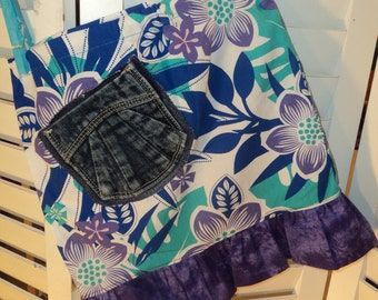 Little Hawaiian SKIRT , size 2/3, with Recycled blue jean pocket