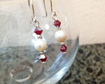 SALE Freshwater Pearl Swarovski Siam Bicone Crystal Bead Dangle Earrings Elegant Christmas Holiday Jewelry Gifts Under 10
