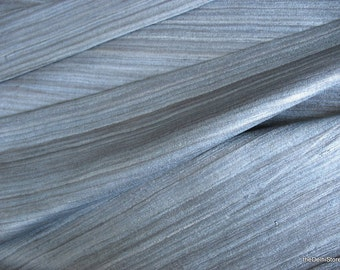 Blue Gray Textured Indian Wild Silk by Yard