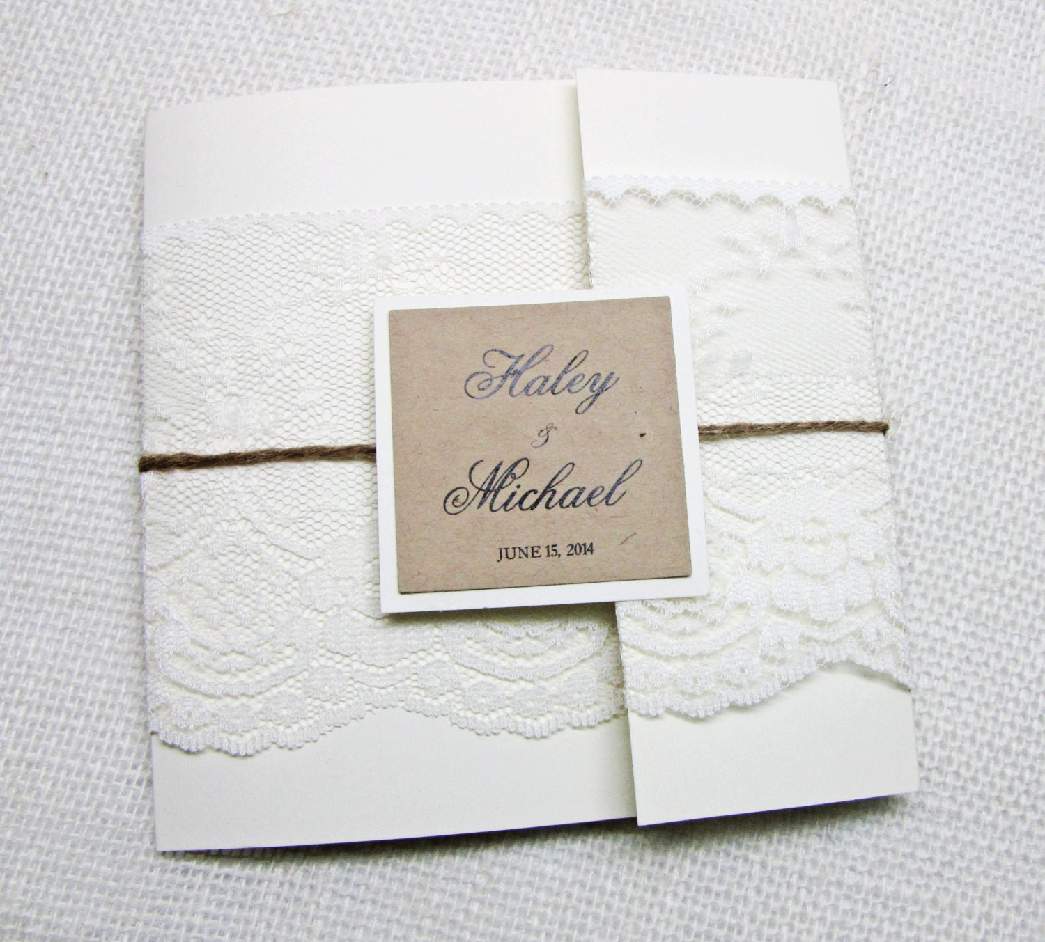 Rustic Lace Pocket Wedding Invitation With Rustic Lace And