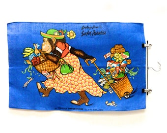 "Vintage Irish linen tea towel / ""Greetings from Surfers Paradise"""
