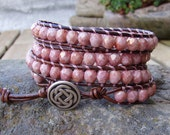 Wrap bracelet with opaque red terracotta fire polished glass beads