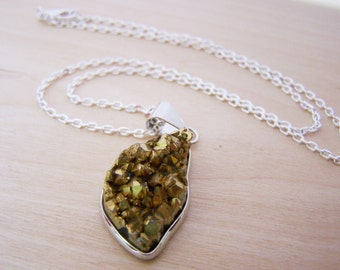 Gold Druzy Pendant Silver Necklace / Gift for Her