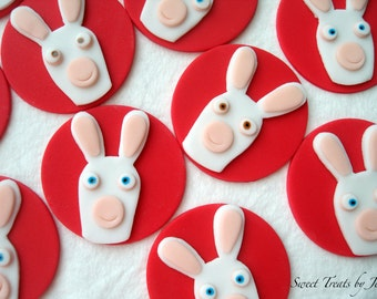 Set of 12 Rabbids Invasion Fondant Edible Cupcake Toppers