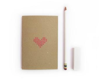 Cross stitch mini Notebook. Hand stitched neon pink heart