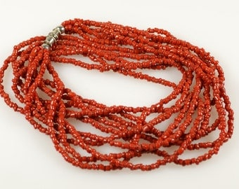 "Coral Necklace, Multi Strand Coral Necklace, Coral, Seed Bead Necklace Vintage 20"" Multi Strand Red Coral Seed Bead Glass Necklace"