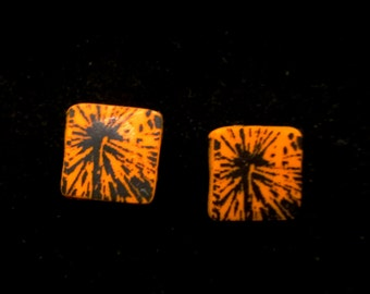 Orange and Black Square Shaped Polymer Clay Post Earrings