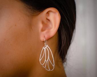 Butterfly Wing Earrings - Silver Delicate Large and Light Wing Earrings - Angel Wings - Ultra Light Earrings