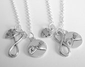 2 Pinky Promise Pinky Swear Infinity Heart  Best Friend Sisters Necklaces BFF