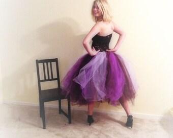 Adult tutu, Plum purple lavender, tea length tutu, sewn tutu, mardi gras tutu, rave raver tutu, wedding bridal tulle skirt, prom tutu skirt